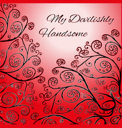 Red greeting card template with floral ornament vector