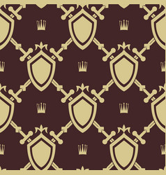 sword and shield seamless pattern vector image vector image