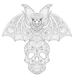 Zentangle stylized Bat seating on sugar Skull for vector image