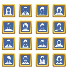 avatars set icons set blue vector image