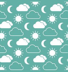 cloud sun and moon seamless pattern vector image