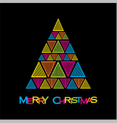 creative merry christmas tree vector image