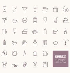 Drinks Outline Icons for web and mobile apps vector image vector image