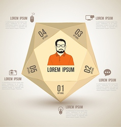 Polygon with icons number options vector image vector image