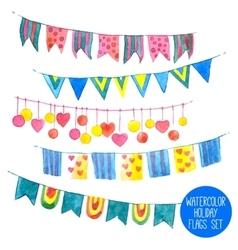 Watercolor Holiday Garlands Set vector image