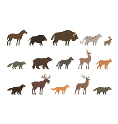 Animals set of colored icons isolated on white vector