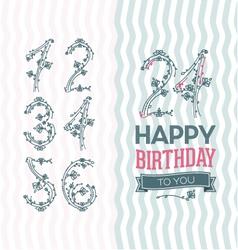 Flower numbers birthday set vector image