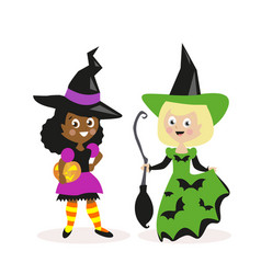 girls dressed as a witch with a broom and pumpkin vector image vector image