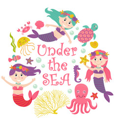 card with mermaid under the sea vector image vector image