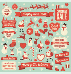 christmas and new year icons vector image