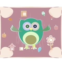 cute owl card Baby girl arrival announcement card vector image vector image