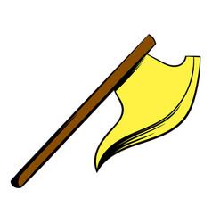medieval knight ax icon cartoon vector image