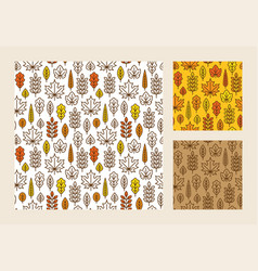 seamless pattern with linear autumn leaves vector image