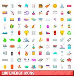 100 energy icons set cartoon style vector