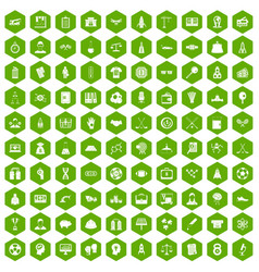 100 success icons hexagon green vector