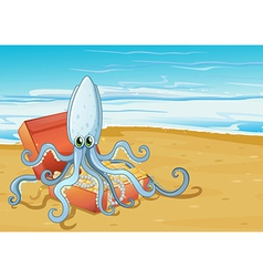 A beach with an octopus inside the treasure box vector