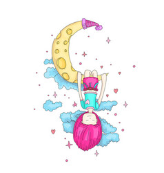 a little girl sleeping and dreaming hanging vector image