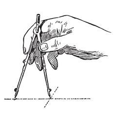 adjusting the compass vintage engraving vector image