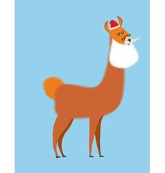 Alpaca Lama Santa Claus Wild animal with beard and vector image