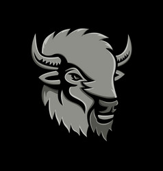 American bison head metallic icon vector