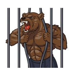 Angry bear in cage 3 vector