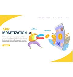 app monetization website landing page vector image