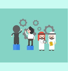 Arab business people maintenance gear setting and vector