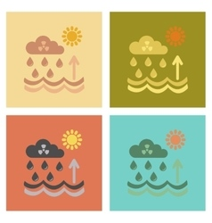 Assembly flat icons nature radioactive cloud vector