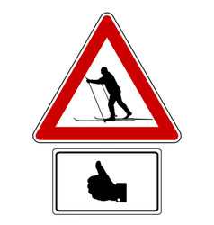 attention sign with optional label thumbs up vector image
