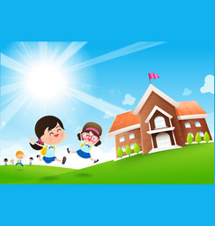 back to school concept student kids jumping and vector image