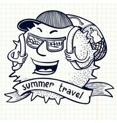 Backpack traveler vector