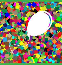 Balloon sign white icon on vector