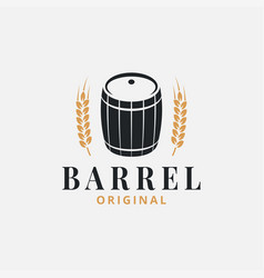 barrel logo with wheat on white background vector image