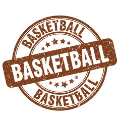 Basketball brown grunge round vintage rubber stamp vector