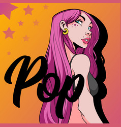 Beautiful girl with pink hair and a pop vector