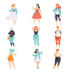 Beautiful plus size women in fashionable clothes vector