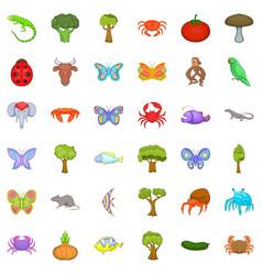 biology icons set cartoon style vector image