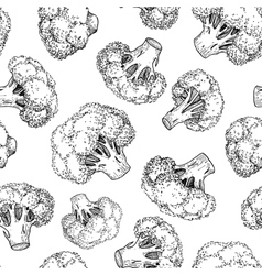 Broccoli hand drawn seamless pattern vector image