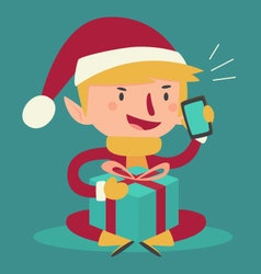 Cartoon Elf Talking on the Phone and Holding a Pre vector image