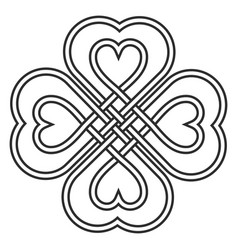 Celtic heart knot in shape a clover leaf vector