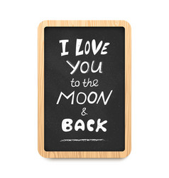 chalkboard with i love you to the moon and back vector image