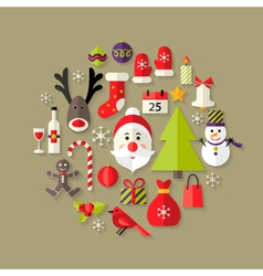 Christmas Flat Icons Set with Santa Claus vector image