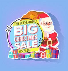 christmas sale sticker santa claus mega vector image