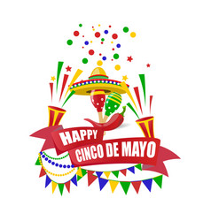 Cinco de mayo merry holiday write with a wish vector