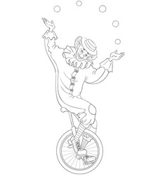 circus clown juggling balls unicycle coloring page vector image