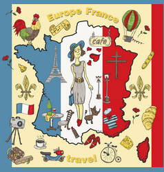 Color travel 9 to europe france symbols and vector