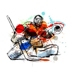 Colored hand sketch hockey goalie vector image