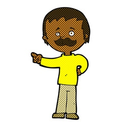 comic cartoon man with mustache pointing vector image