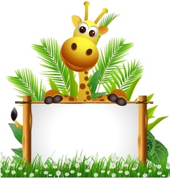 Cute giraffe with blank sign vector