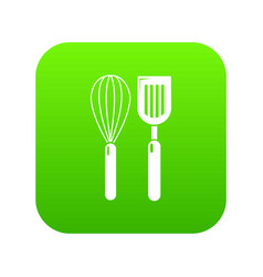 cutlery bake icon green vector image